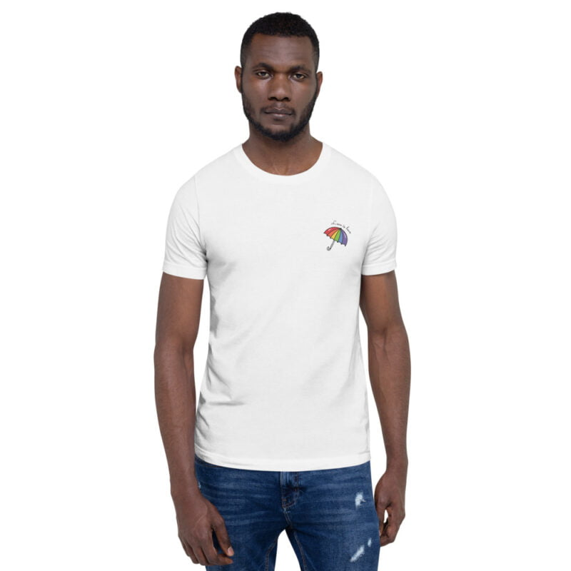 """T-shirt with a rainbow umbrella printed on the left chest. The sentence """"Love is love"""" is printed on the top of the umbrella. T-shirts - LGBTQ+ Gay Pride Apparel - unisex premium t shirt white front 60a3de0db557e"""