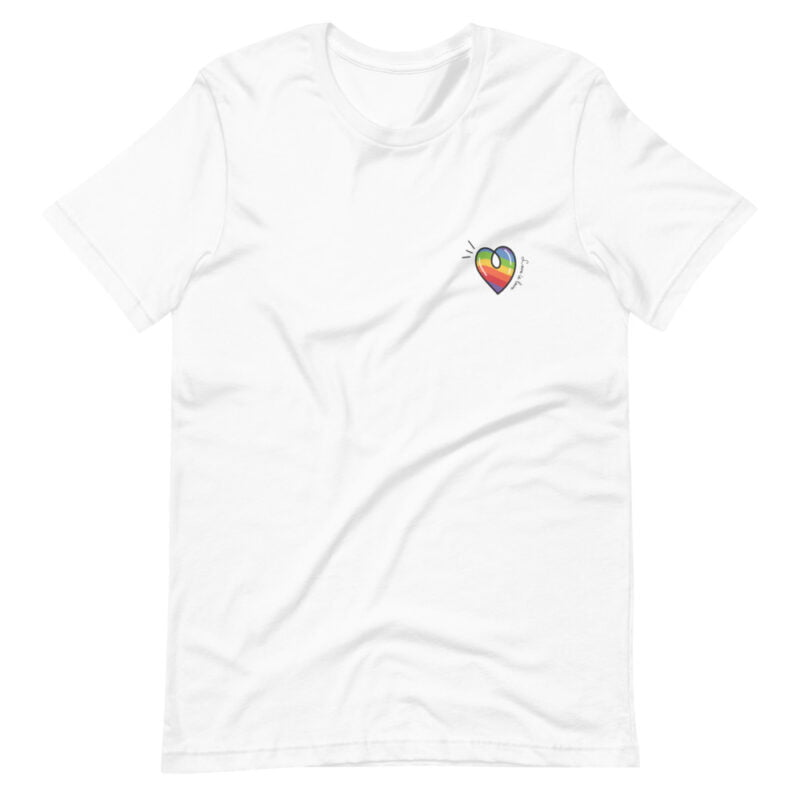 """T-shirt with a rainbow heart printed on the left chest. The sentence """"Love is love"""" is written next to the heart. T-shirts - LGBTQ+ Gay Pride Apparel - unisex premium t shirt white front 60a3de870c0a9"""