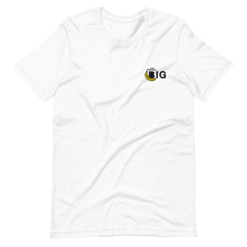 """T-shirt with a sexy embroidery on the left chest. The design represents a banana with the text """"Mister BIG"""". T-shirts - LGBTQ+ Gay Pride Apparel - unisex premium t shirt white front 60af559d42e4c"""