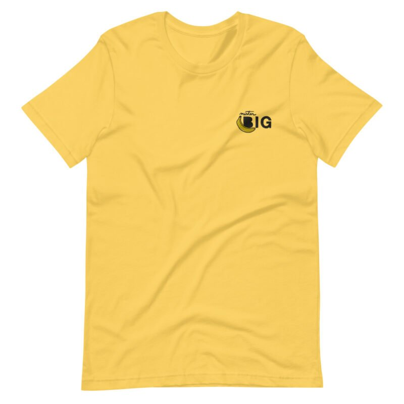 """T-shirt with a sexy embroidery on the left chest. The design represents a banana with the text """"Mister BIG"""". T-shirts - LGBTQ+ Gay Pride Apparel - unisex premium t shirt yellow front 60af559d441e1"""