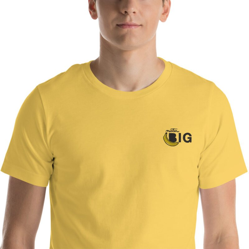 """T-shirt with a sexy embroidery on the left chest. The design represents a banana with the text """"Mister BIG"""". T-shirts - LGBTQ+ Gay Pride Apparel - unisex premium t shirt yellow zoomed in 60af559d438d7"""