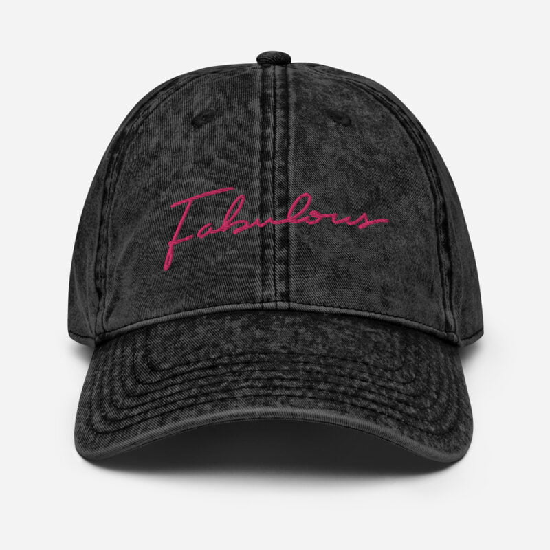 Dad hat with a pink embroidery. We can see the word fabulous written on the cap Cap - LGBTQ+ Gay Pride Apparel - vintage cap black front 60a2c0b3e6f59