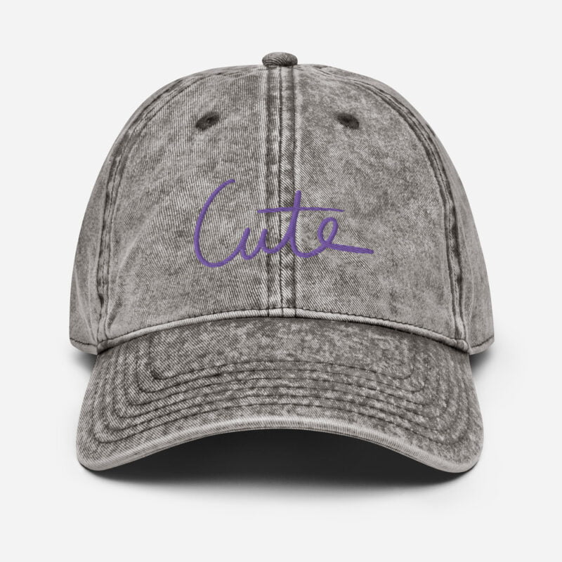 Vintage dad hat with the word Cute embroidered in purple or white. Cap - LGBTQ+ Gay Pride Apparel - vintage cap charcoal grey front 60a2bff2b9c14