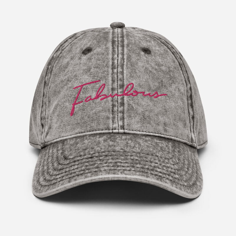 Dad hat with a pink embroidery. We can see the word fabulous written on the cap Cap - LGBTQ+ Gay Pride Apparel - vintage cap charcoal grey front 60a2c0b3e750a