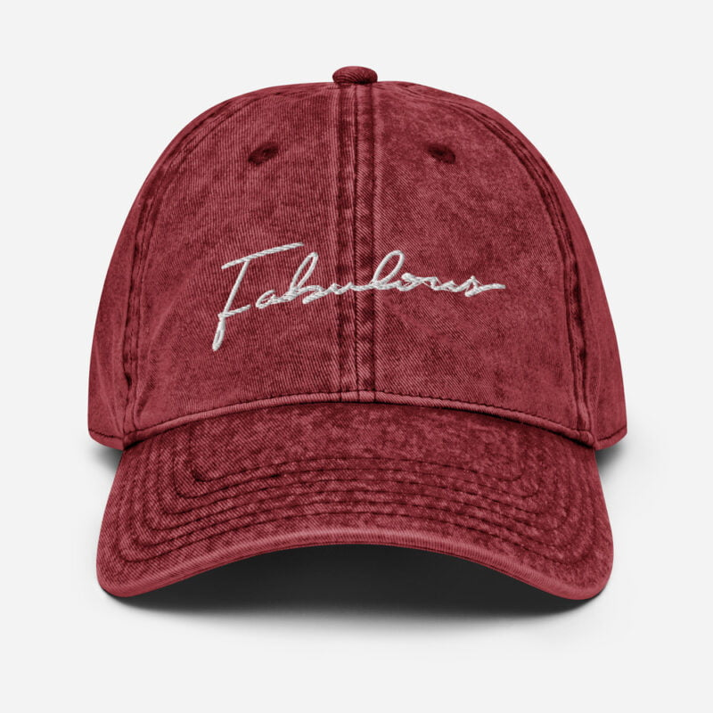 Dad hat with a pink embroidery. We can see the word fabulous written on the cap Cap - LGBTQ+ Gay Pride Apparel - vintage cap maroon front 60a2c08606d26