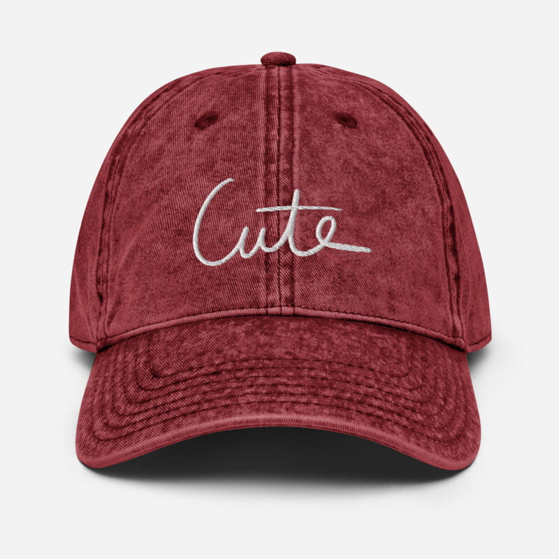 Vintage dad hat with the word Cute embroidered in purple or white. Cap - LGBTQ+ Gay Pride Apparel - vintage cap maroon front 60a2c0eab1b1c