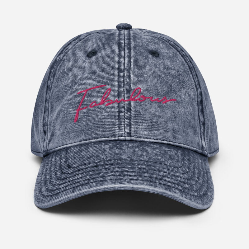 Dad hat with a pink embroidery. We can see the word fabulous written on the cap Cap - LGBTQ+ Gay Pride Apparel - vintage cap navy front 60a2c0b3e733d