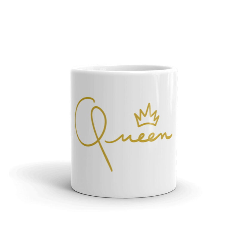 Mug for the true queens. It represents the word Queen handwritten with a little crown. Mugs - LGBTQ+ Gay Pride Apparel - white glossy mug 11oz front view 60af756d84815