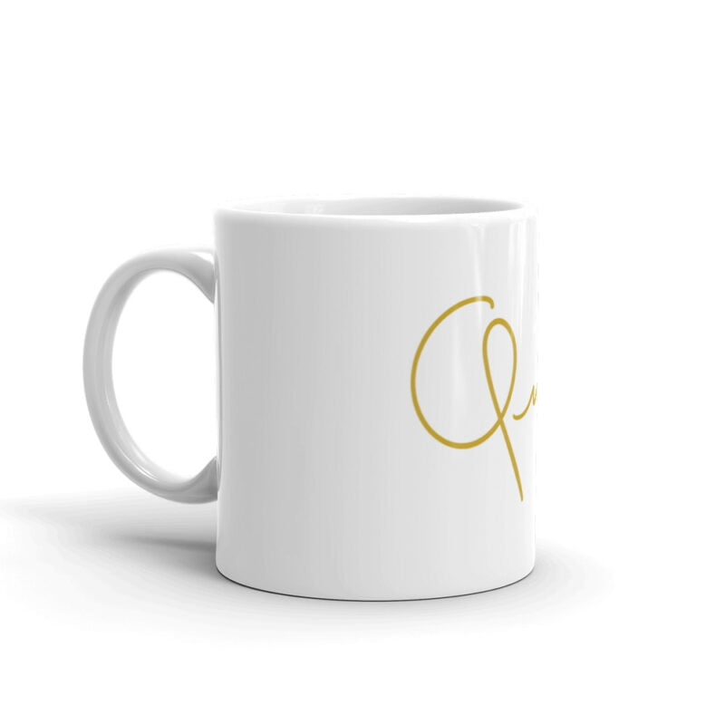 Mug for the true queens. It represents the word Queen handwritten with a little crown. Mugs - LGBTQ+ Gay Pride Apparel - white glossy mug 11oz handle on left 60af756d8456c