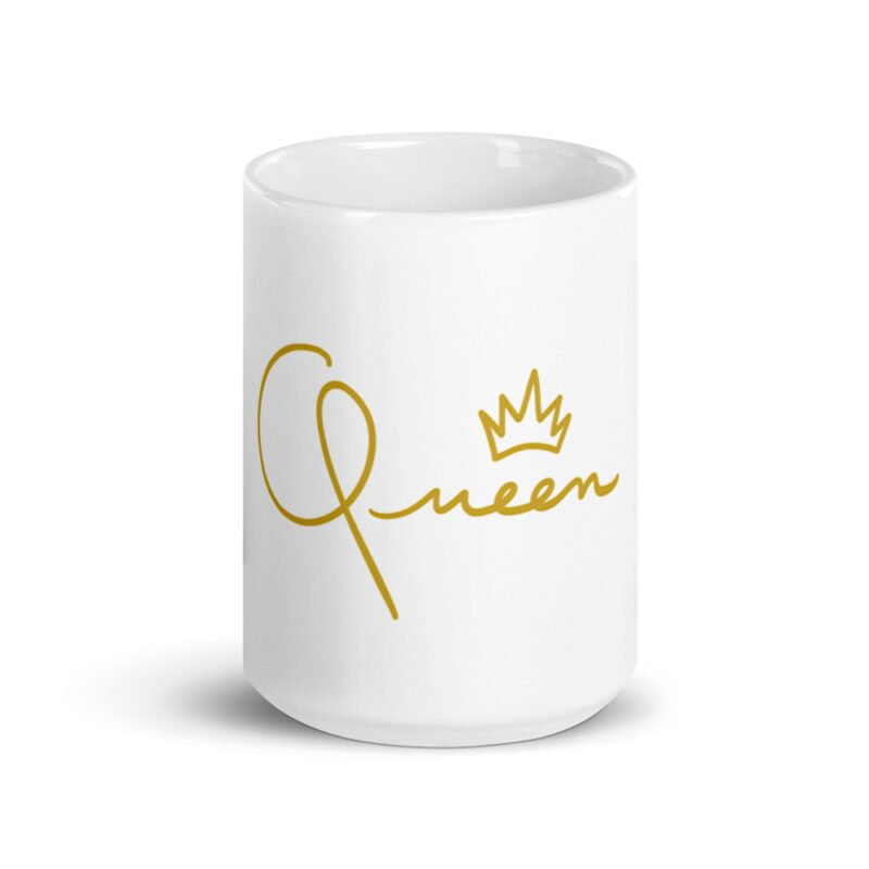 Mug for the true queens. It represents the word Queen handwritten with a little crown. Mugs - LGBTQ+ Gay Pride Apparel - white glossy mug 15oz front view 60af756d849a0
